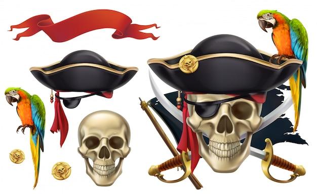 Teschio e pappagallo. emblemi dei pirati, segni dei pirati, set di clipart vettoriali