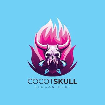 Teschio fuoco esport logo design