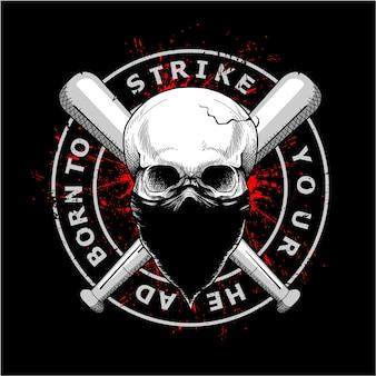 Teschio gangster indossando maschera e bastone da baseball