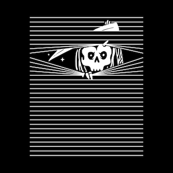 Teschio grim reaper, design t-shirt