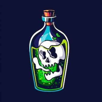 Teschio in bottiglia di veleno, design tatto e illustrazione