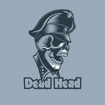 Teschio in divisa con la scritta dead head