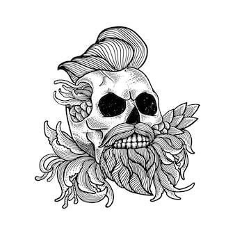 Teschio linea grafica per tatuaggio e maglietta premium