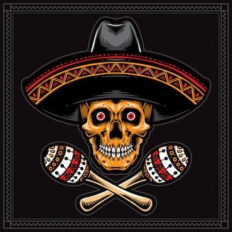 Teschio messicano con cappello