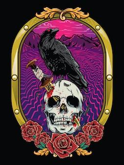 Teschio morto con corvo e cornice araldica