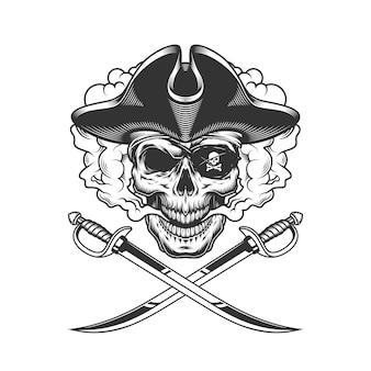 Teschio pirata con benda sull'occhio