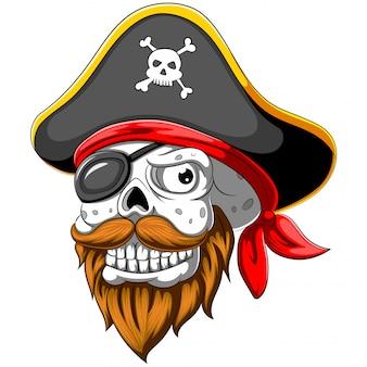 Teschio pirata con cappello e benda sull'occhio