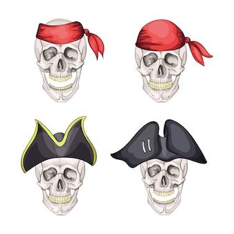 Teschio pirata di pericolo impostato in bandana e cappello per tatuaggio o t-shirt design.