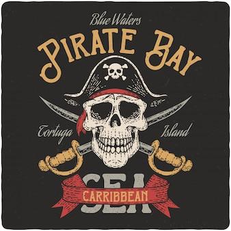 Teschio pirata e spade