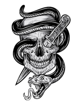Teschio tatuaggio serpente