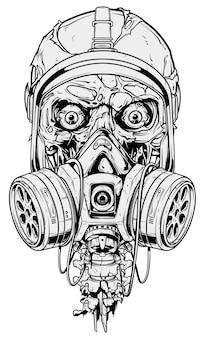 Teschio umano grafico dettagliato con maschera antigas