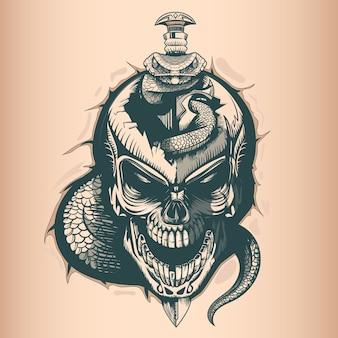 Teschio vintage con spada e serpente