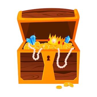 Tesori d'oro con diamanti costosi e corone di lusso nella vecchia cassa di legno e sacchetti di tessuto isolati.