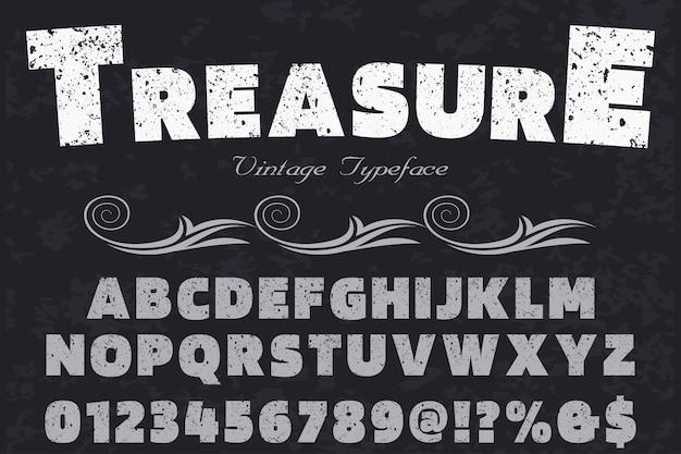 Tesoro di design etichetta carattere vecchio stile
