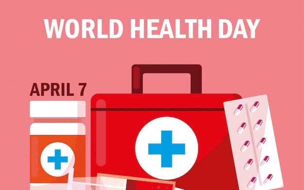 Tessera per la giornata mondiale della salute con kit di pronto soccorso