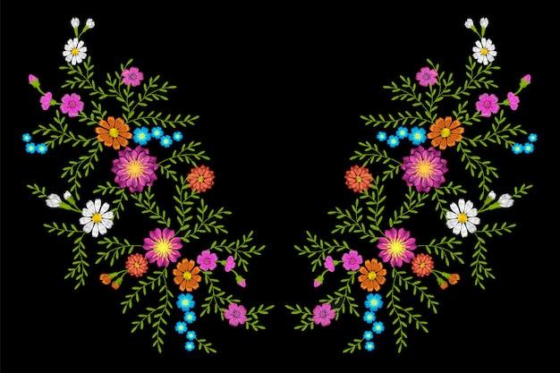 Tessile di ricamo moda margherita gerbera erba adesivo patch moda tessile