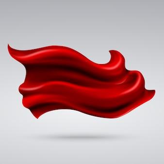 Tessile di seta rossa volante, bandiera di stoffa, illustrazione di nastro di raso. materiale tessile di decorazione