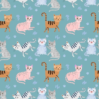 Tessile di tessuto seamless pattern carino gatto.
