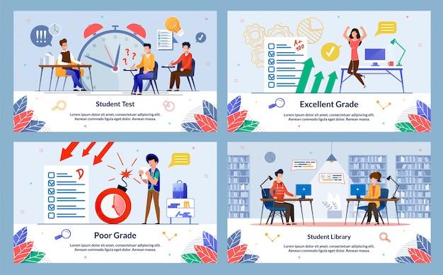 Test degli studenti e set di diapositive della libreria