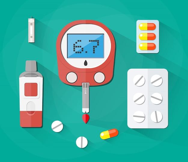 Test della glicemia, striscia e pillole, set di diabete