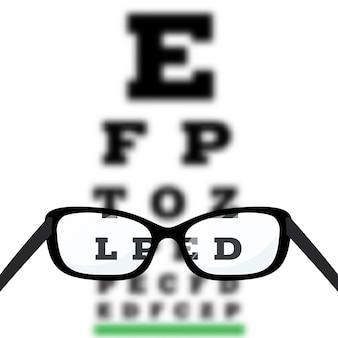Test di visione oculare, diagnosi di miopia per scarsa vista sulla tabella di test oculare di snellen.
