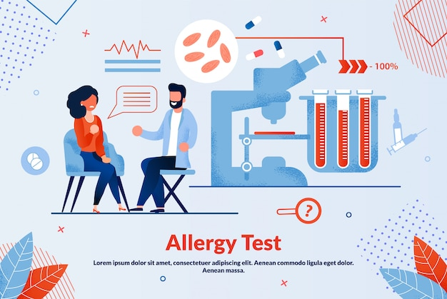 Test informativo sulle allergie con banner piatto.