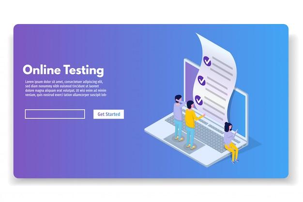 Test online, e-learning, concetto di educazione isometrica. illustrazione vettoriale