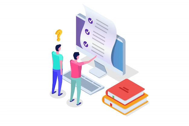 Test online, e-learning, concetto di educazione isometrica. illustrazione.