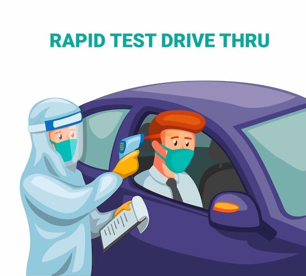 Test rapido attraverso. lo scienziato indossa una tuta ignifuga e un autista che controlla il volto in auto dal virus corona