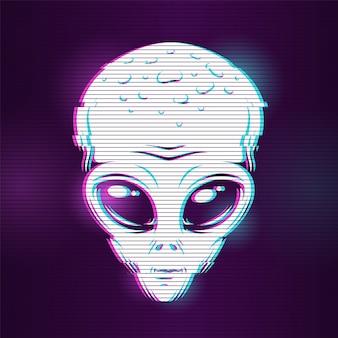 Testa aliena con effetto glitch