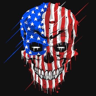 Testa del cranio con il colore della bandierina dell'america di usa