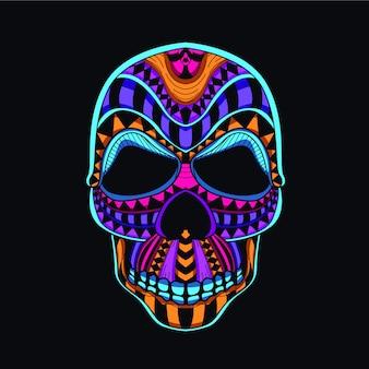 Testa del cranio decorativa dal colore neon