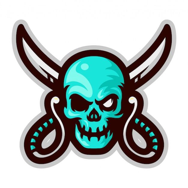 Testa del cranio del pirata con l'illustrazione trasversale di vettore della mascotte delle spade