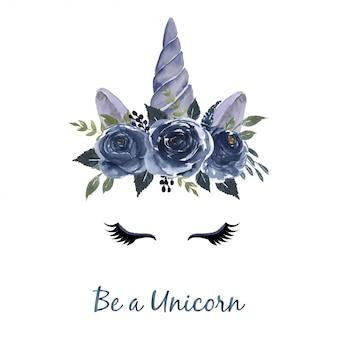 Testa dell'acquerello di unicorno con ghirlanda floreale blu navy