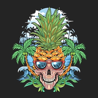 Testa di ananas cranato con occhiali e albero di cocco nell'opera della spiaggia