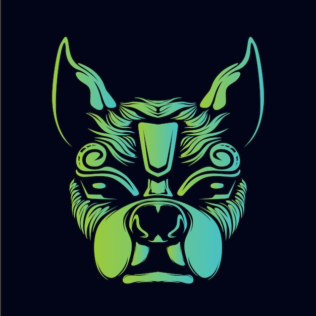 Testa di cane che brilla nel buio