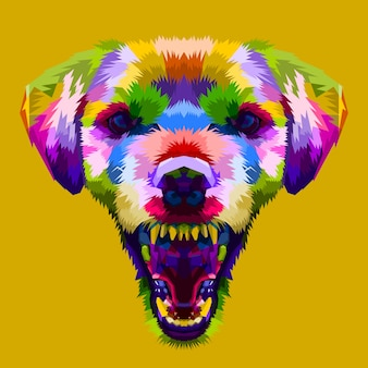 Testa di cane colorato arrabbiato su stile pop art