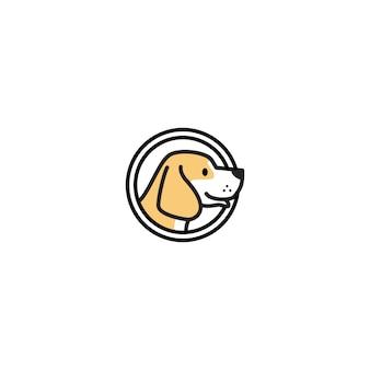 Testa di cane dentro un'illustrazione dell'icona di vettore di logo del cerchio