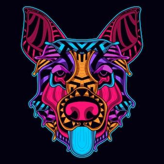 Testa di cane in stile neon
