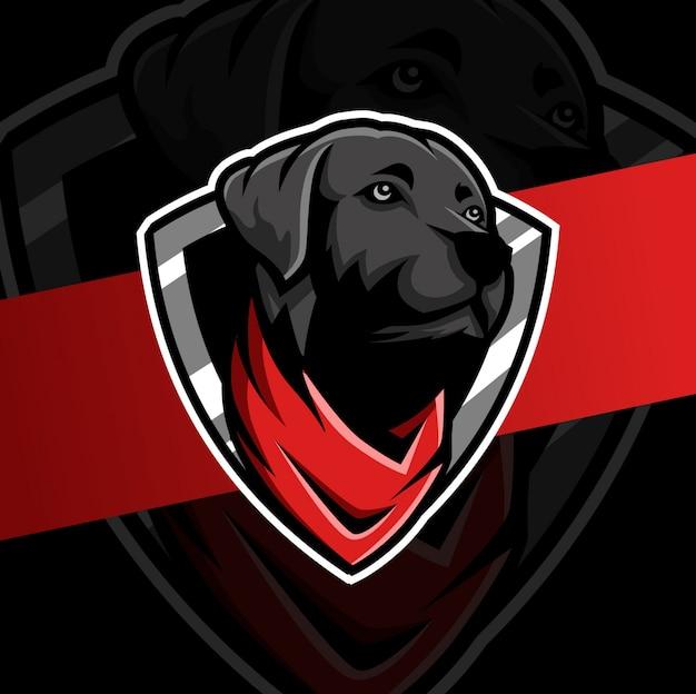 Testa di cane nero con disegno logo mascotte bandana esport