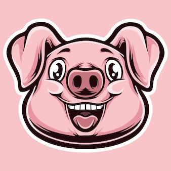 Testa di cartone animato di maiale mignolo