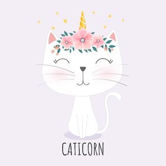 Testa di caticorn carina con corona di fiori.