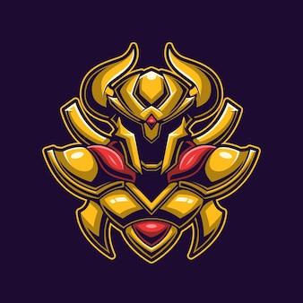Testa di cavaliere d'oro con il concetto di casco