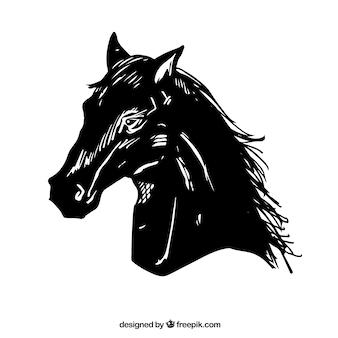 Testa di cavallo nero, illustrazione vettoriale