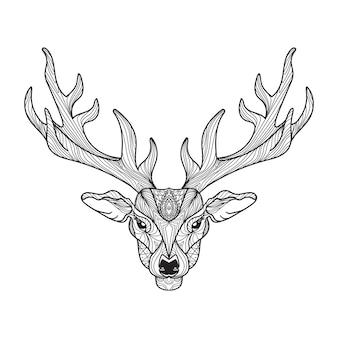 Testa di cervo con le corna per t-shirt, tatuaggio, stampa, tessuto, poster e illustrazioni. vettore