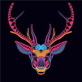 Testa di cervo decorativa in color neon