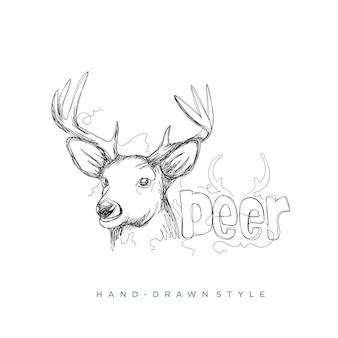 Testa di cervo disegnata a mano stile astratto, logo astratto
