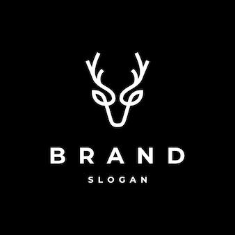 Testa di cervo iconica semplice con logo