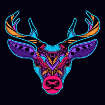 Testa di cervo in arte stile di colore al neon