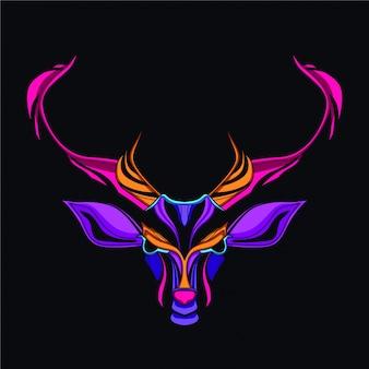 Testa di cervo in bagliore color funk